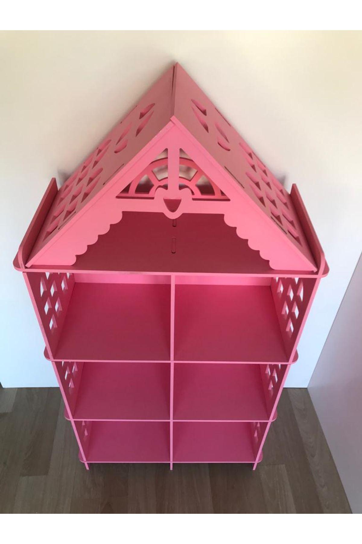 Barbie Evi Ahşap Kitaplık Pembe
