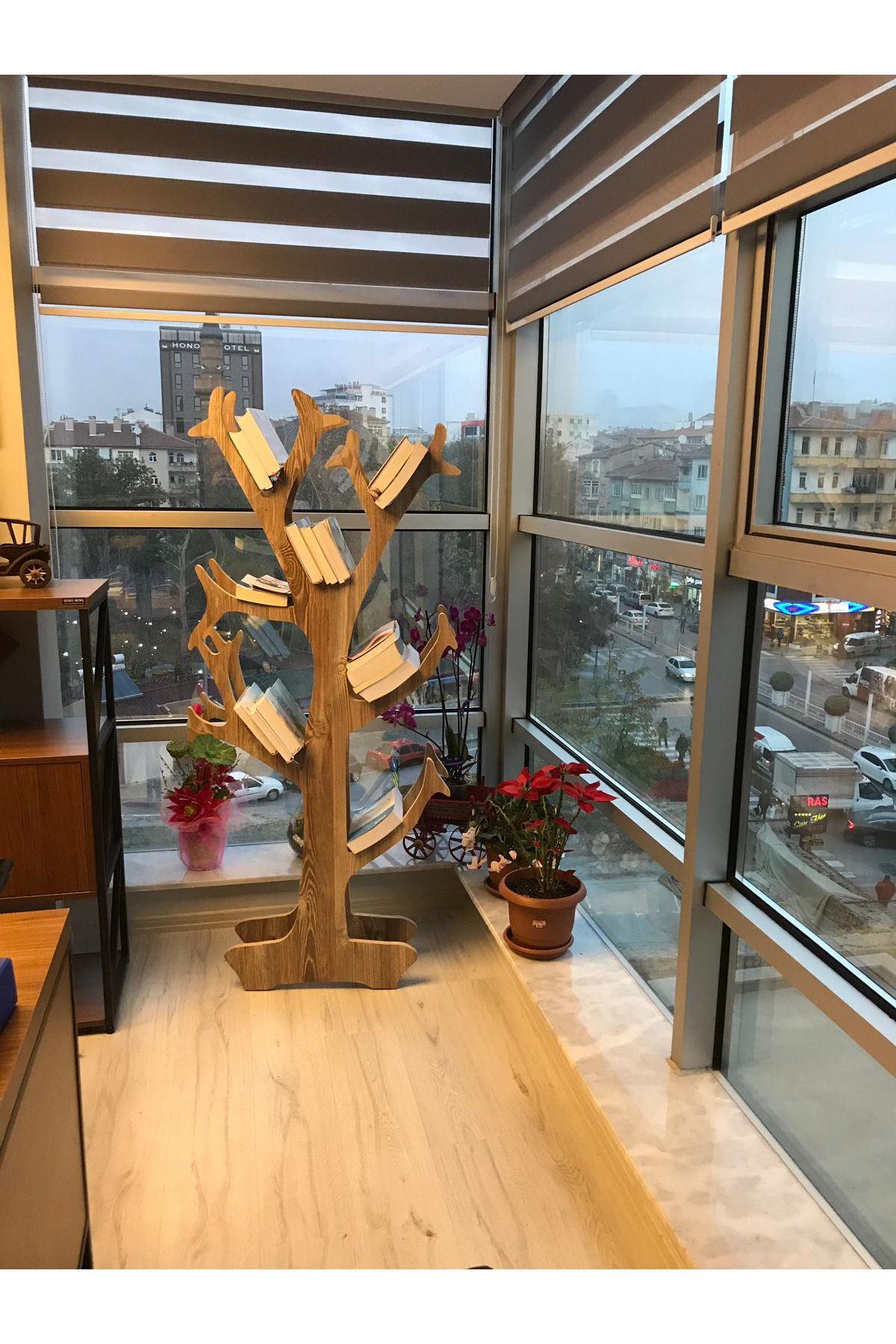 CEVİZ Ahşap Dekoratif Ağaç Kitaplık