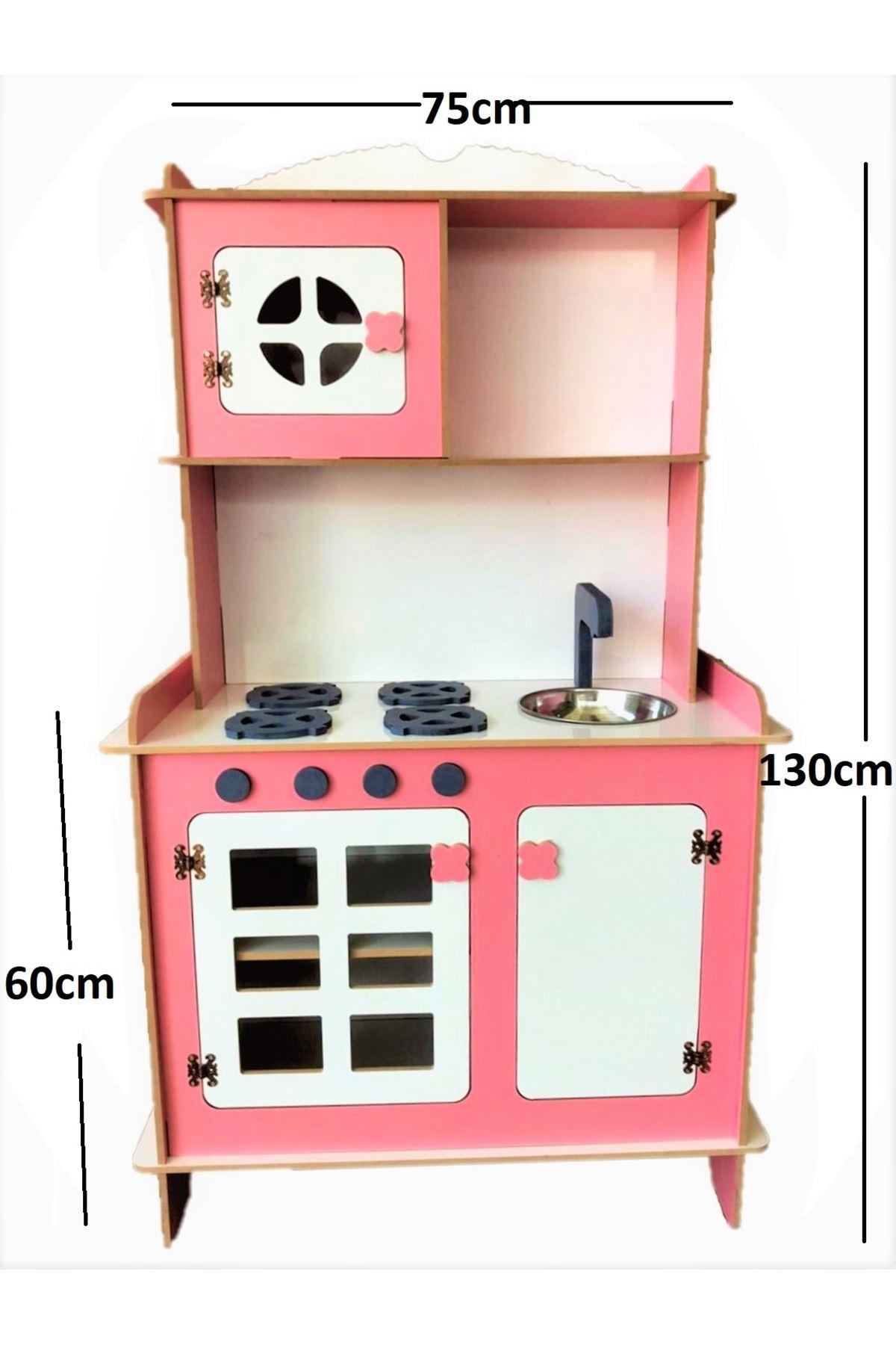 Ahşap Mutfak Seti Çocuk Mutfağı Pembe